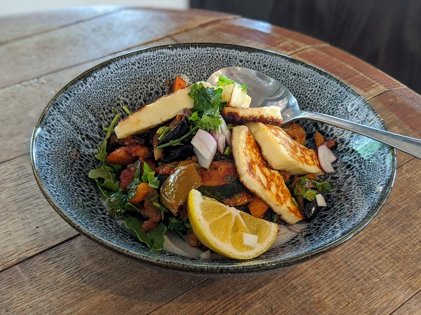 Middle Eastern Roast Vegetables with Grilled Haloumi
